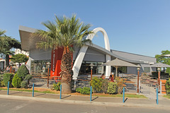 McDonald's Montpellier Odysseum (France) (Meteorry) Tags: city morning urban food france june modern vintage restaurant europe terrace fastfood terrasse arches montpellier retro mcdonalds palmtrees storefront drivethru bigmac ville palmiers goldenarches matin languedocroussillon 2014 hérault mcdrive meteorry automac odysseum montpelé placedelondres aquariummarenostrum monspessulgnus