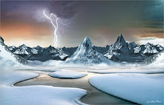 Ice vs fire (Jean-Michel Priaux) Tags: winter mountain snow alps cold art ice nature photoshop alpes river landscape earth flash surreal manipulation unreal tempest paysage montain anotherworld terrific priaux