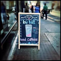 Low Battery. Need Caffeine. (timaoutloud) Tags: coffee square format caffeine chalkboard cafegrumpy lowbattery instagram