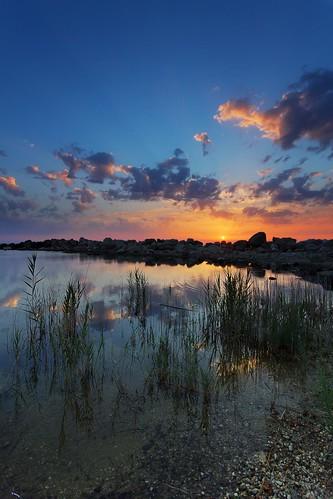 Sunset on Vrachos-Loutsa beach