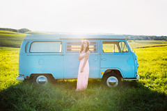 Sophie - Class of 2015 - (oakwoodphotography) Tags: summer sun flower bus love senior floral field vw portraits vintage volkswagen photography colorful pittsburgh dress antique crown kittanning