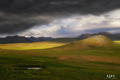 Deosai Plains... (Usman Hayat) Tags: sun green clouds nikon plateau hide nikkor plains hayat d800 usman deosai