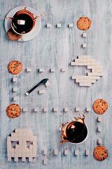 Pac-Man (8 bit teatime 2.0) (Dina Belenko) Tags: coffee cookies childhood retro sugar nostalgia pacman videogame splash update computergame bit upgrade consoles refinedsugar