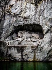 lucerne lion (ktktkt88) Tags: sculpture leaves stone switzerland pond lion olympus lucerne em10 mft