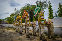 God's Horses (Freeze the moments!) Tags: old trees people mountain green nature statue temple madurai pillayar samanarmalai nagamalai vasanthjune keelakuyilkudi