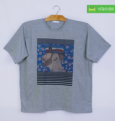 เสื้อยืดแฟชั่นผู้ชายอ้วนสีเทาทอปลายพิมพ์ลาย 002