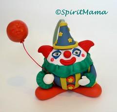 OOAK Clown Ornament made of polymer clay by SpiritMama (SpiritMama) Tags: christmas halloween animal happy circus clown balloon creepy ornament clay whimsical spiritmama spiritmamaetsycom spiritmamacom