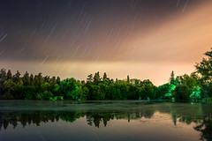 Luces en la Noche (emiliokuffer) Tags: longexposure trees lake water night landscape lago lights star noche agua arboles magic trails clear estrellas laguna startrails regionwide
