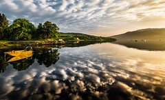 Tranquil bay. (AlbOst) Tags: morning sea skye clouds sunrise reflections boats bay isleofskye tranquility calm serene tranquil morningsun sleat isleornsay greatphotographers d7100