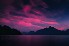 Pink Night (Atmospherics) Tags: pinksky pinkdusk dusklight britanniabc howesound bclandscape bc lowlight atmospherics nightsky