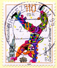 great stamp Germany 110pf. Clown (175th Anniversary of Düsseldorf carnival, Düsseldorfer Karneval (Fasching, carnival, カーニバル, karnevaali, Mardi Gras, el carnaval, 축제, карнава́л, carnevale, 狂欢节, karnawał, καρναβάλι) timbres Allemagne sellos Alemanha selos (stampolina, thx ! :)) Tags: anniversary carnival düsseldorferkarneval fasching カーニバル karnevaali mardigras elcarnaval 축제 карнава́л carnevale 狂欢节 karnawał καρναβάλι karneval color colour colorful colourful bunt coloré kleurrijk colorato カラフル 华美 γραφικόσ kolorowy colorido barvita pestrý красочный färgrik clown клоун 小丑 pitre κλόουν payaso klaun klovn ピエロ błazen palyaço trúður bohóc klovni palhaço klauns klounas gutt 시골뜨기 kloun klaŭno deutschland germany stamps timbre bolli funny lustig düsseldorf