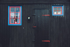 Kunoy (dataichi) Tags: faroe faroeislands north atlantic travel destination tourism house wooden wood board window door rustic texture vintage black dark red blue