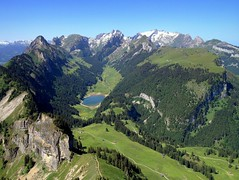 Alpstein panorama (PeterCH51) Tags: panorama lake mountains alps nature landscape schweiz switzerland scenery rocks hiking swiss alpine summit alpinelake mountainlake appenzell hikingtrail iphone sntis alpstein hoherkasten smtisersee 5photosaday staubern appenzellinnerrhoden peterch51 stauberenkanzel