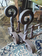 "MASSIVE WROUGHT IRON CURVILINEAR ANDIRONS, EARLY 20TH CENTURY. • <a style=""font-size:0.8em;"" href=""http://www.flickr.com/photos/51721355@N02/14335600798/"" target=""_blank"">View on Flickr</a>"