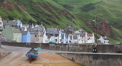 Village Harbor (Curl66) Tags: houses sea canon landscape photography harbor scotland boat seaside village aberdeenshire cliffs gardenstown