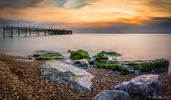 Another day over (benboy80) Tags: sunset sea seascape beach water 50mm pier nikon pano panoramic isleofwight nikkor goldenhour haida d610 18g totlandbay tenstopper