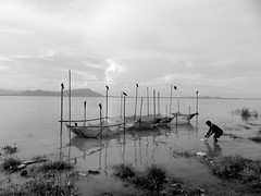 Fisherman (Biswajit Dihidar) Tags: blackandwhite birds clouds river fishing fishermen fishnets crows assam brahmaputra