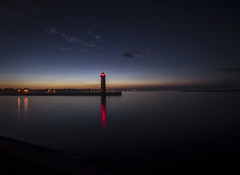 blue hour time (olsonj) Tags: sea water fog evening lakemichigan bluehour