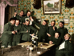 German officers from an air unit enjoying themselves at a party - Western Front, 1918 (taytaytaytaytaytaytaytaytaylor) Tags: blackandwhite wwi german colorized soldiers uniforms westernfront ww1 colourized officers