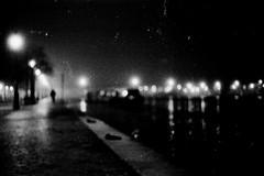le quai (asketoner) Tags: street trees shadow blur paris france water night canal away citylights far ourcq