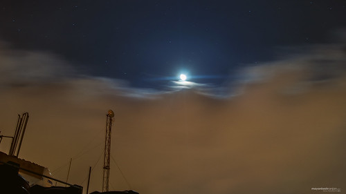 Moonlight and starry cloudy night