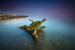 Rest of Boat Wreck , Ancol (Jose Hamra Images) Tags: sunset beach sunrise landscape ss jakarta ancol