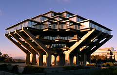 Geisel Library (thpwilliams) Tags: california blue sky art college nature glass architecture concrete education university sandiego library famous think dream sunny books landmark lajolla read study socal finals write drseuss hue brutalism studious brutalist ucsd brutal catinthehat hedges midterms geisel universityofcalifornia theodor brutalistarchitecture theodorgeisel
