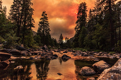 My Turbulent Nature (marq4porsche) Tags: california park trees sunset red sky cloud color nature water colors clouds forest canon river fire rocks skies cloudy smoke national yosemite evergreens 28 24mm distant shilouette 6d