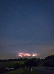 Lightning, Lightning Bugs & Summer Stars - Blue Ridge Mountains (Terry Aldhizer) Tags: blue sky storm mountains night clouds stars long exposure bugs ridge terry lightning aldhizer