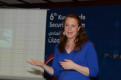 Sofie Sandell speaking in Kuwait on stage