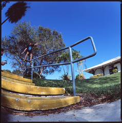 Boardslide through the kink (ChristianSimsPhotos) Tags: film dead is skateboarding christian bronica skateboard medium format timeless sims luminescence christiansims timelessluminescnence