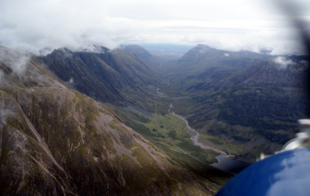 Glancing back over our shoulders up Glen Coe at the gap we'd just flown through