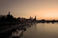 Dresden Skyline I (xmibux) Tags: city sunset sepia germany deutschland dresden sonnenuntergang ships saxony sachsen stadt altstadt elbe schiffe elbufer