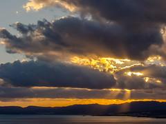 "Afternoon Sun & Clouds View from Pefkos on Rhodes (Olympus OMD EM5 &  Panasonic ""G"" 35-100mmm F2.8 Telephoto Lens) (markdbaynham) Tags: sea sky sun colour clouds landscape greek four islands ray view g hellas evil olympus panasonic greece grecia scenary micro third pefkos rodos rhodes f28 omd csc dodecanese hellenic m43 mft pefki em5 35100mm u43 m43rd u43rd"