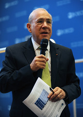 Press conference for the publication of the Interim Economic Assessment (Organisation for Economic Co-operation and Develop) Tags: angel michael chief dean outlook oecd economy economist interim ocde gurria