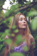 Alex (lucrecia lee) Tags: portrait colour tree girl beautiful beauty face leaves fashion glamour gorgeous longhair orchard blonde apples colourful gown graceful youngwoman glamorous longdress