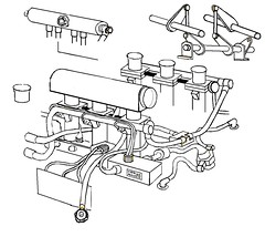 Porsche 911 GT1 throttles, wires, plumbing, cartoon. 1998? Carbon fiber intakes, integrated electronics