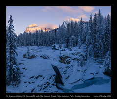 Mt. Stephen (L) and Mt. Dennis (R) with The Natural Bridge, Yoho National Park, British Columbia (kgogrady) Tags: landscape sunset winter field britishcolumbia canada fx canadianlandscapes 2015 bc canadianrockies cans2s afternoon canadianrockieslanscape britishcolumbialandscape canadianmountains canadiannationalparks frozen d800e ice d800 clouds mountains mountdennis mtdennis mtstephen mountstephen nikkor nopeople nikon nikon2470mmf28fxafsgednikkor parkscanada westerncanada yohonationalpark trees snow pano panorama