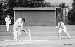 Couldn't quite get the bat down. (Steve.T.) Tags: blackandwhite sport out nikon cricket cricketer wicketkeeper batsman sportsground bowled d3100 oldchelmsfordians higheastercricketclub ommot ommotimagery bailintheair