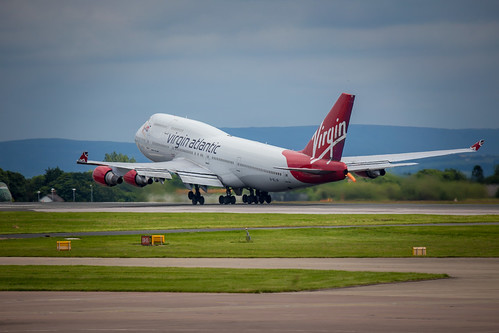 Virgin Atlantic Boeing 747 taking off from Manchester