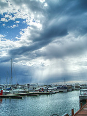 Rain Squall In the Marina (gecko47) Tags: rain clouds marina shower jetty yachts powerboats 2008 westernaustralia mandurah moorings dolphinmarina