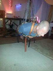 prone hangout 9 (strap-wizard) Tags: club chains suspension gig belts bondage hanging locks harness tat straps restraints hoist posey straploot strappening