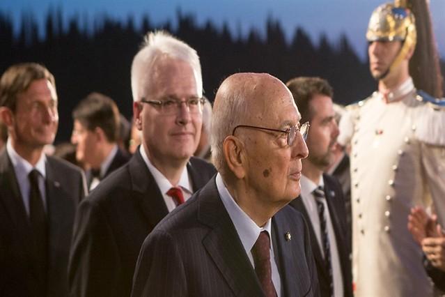 """Il Presidente Napolitano, il Presidente Josipovic, il Presidente Pahor, alla """"Messa da Requiem"""" di G. Verdi dedicata alle vittime di tutte le guerre, diretta dal M° Muti"""