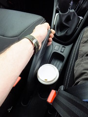 Rental Car Review : Renault Clio 1.2 (stevenbrandist) Tags: uk costa cup coffee car design interior rental clio renault controls tight seating enterprise ergonomics clearance seatbelt hire handbrake