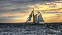 Black Dog schooner (mgstanton) Tags: ocean sunset water ship alabama sails blackdog sail masts schooner sailingship tonemapped 52weeks2014