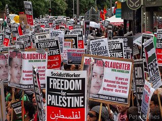 Palestinians protest at Israeli embassy against the brutal revenge kidnapping and murder of Palestinian teenager Mohammed Abu Khdair.