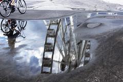 rimini 2014 (giobbe pablito) Tags: italy reflection bicycle pier wheels rimini ferriswheel molo bicicletta riflesso 2014 ruote ruotapanoramica