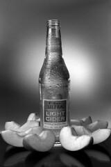 Recreating the Shot (//rusty//) Tags: lighting bw reflection film apple studio advertising nikon kodak assignment 50mm14 alcohol expired ultra f4 tmax100 bulk productshot michelob epsonv500 lightcider