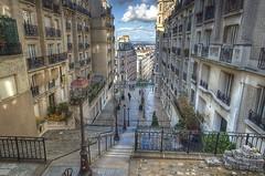 After the showers, Montmartre (alcowp) Tags: paris france rain stairs butte hill montmartre hdr