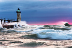Manistee Lighthouse - 5444 (7-37-2014)- (westmichigan) Tags: sunset lighthouse storm water pier waves wind lakemichigan greatlakes channel manistee manisteemi manisteelighthouse canonef70200f28lisii canoneos1dx